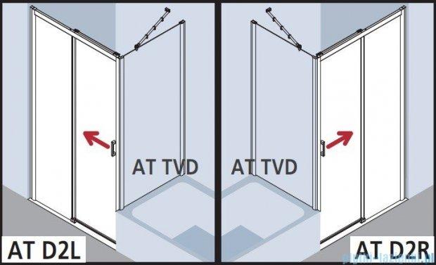Kermi Atea Drzwi przesuwne bez progu, lewe, szkło przezroczyste, profile srebrne 120x200 ATD2L12020VAK