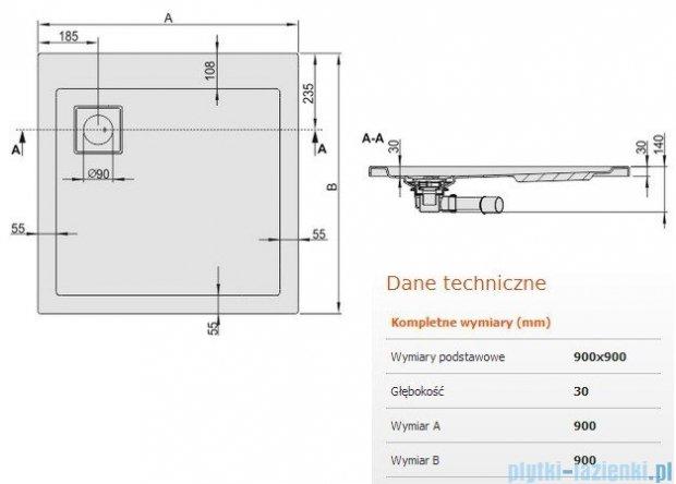 Sanplast Space Line brodzik kwadratowy 90x90x3cm + syfon 615-110-0030-01-000