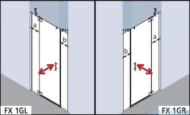 Kermi Filia Xp Drzwi wahadłowe 1-skrzydłowe z polami stałymi, prawe, przezroczyste KermiClean/srebrne 180x200cm FX1GR18020VPK