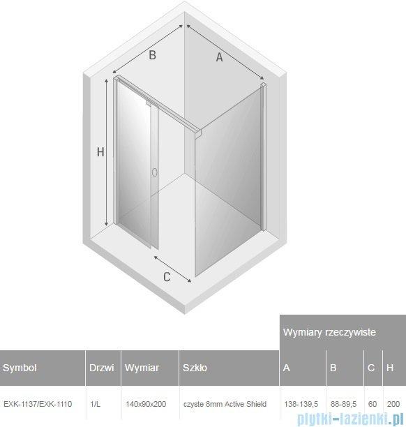 New Trendy Porta 140x90x200cm lewa przejrzyste EXK-1137/EXK-1110