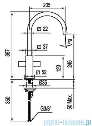 Tres Cuadro-Tres Bateria zlewozmywakowa wylewka 22x22 mm 1.08.497