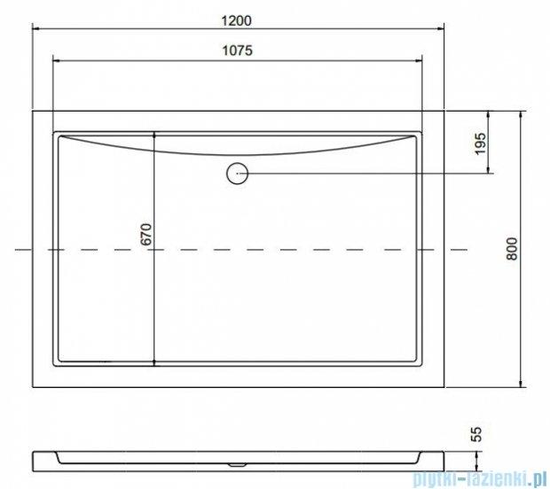 Besco Alpina Brodzik 120x80x3/5.5cm prostokątny wpuszczany w posadzkę BAA-120-80-K