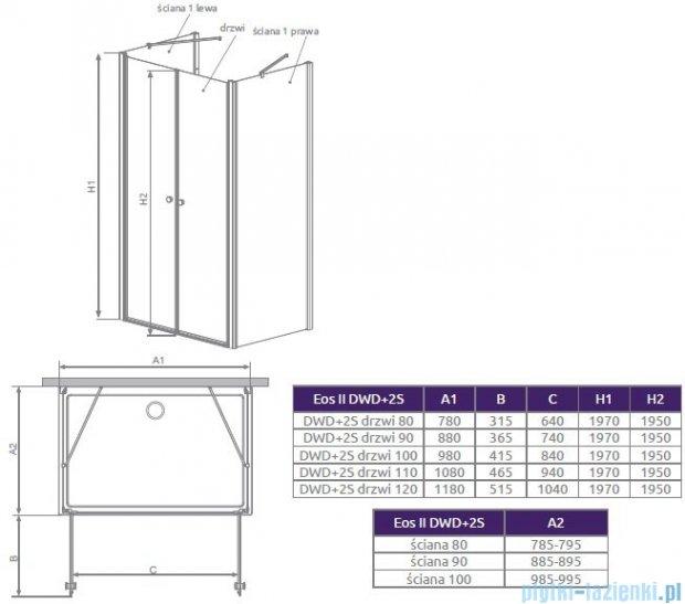 Radaway Eos II DWD+2S Drzwi prysznicowe 80x197 szkło przejrzyste 3799400-01