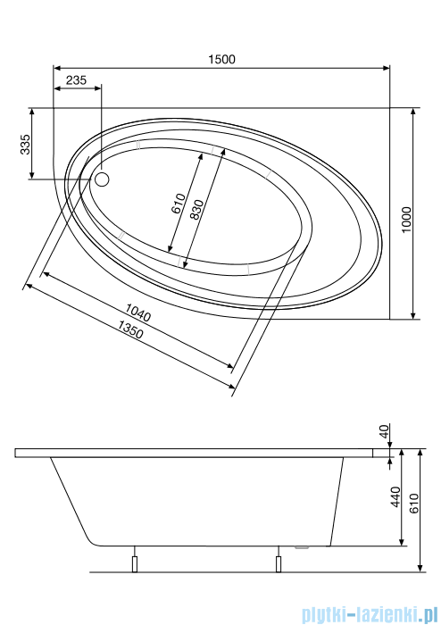 Roca Orbita wanna 150x100cm prawa z hydromasażem Effects Gold Opcja A24T215000