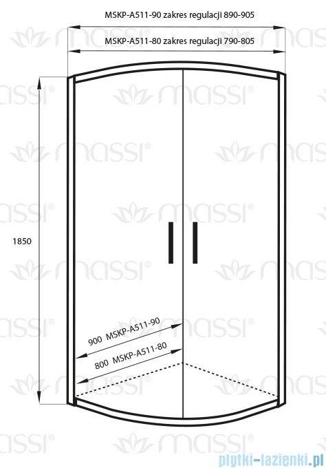 Massi Demi kabina półokrągła 90x90x185 cm + brodzik MSKP-A511-90
