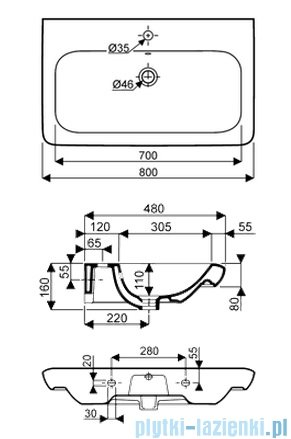 Koło Life! umywalka 80cm otworem na baterie biała M21180