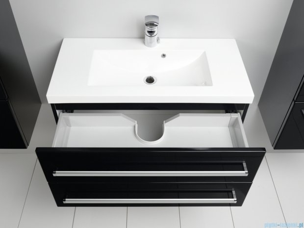 Antado Variete szafka z umywalką, wisząca z dwiema szufladami 80x39x40 czarny połysk FM-C-442/8/2-9017 + UMMC-800x390