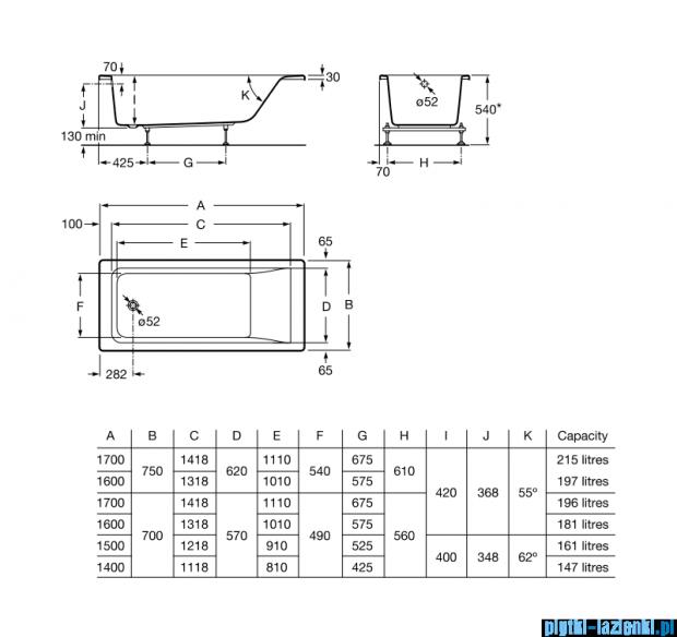 Roca Easy wanna 170x75cm z hydromasażem Smart WaterAir Plus Opcja A24T336000