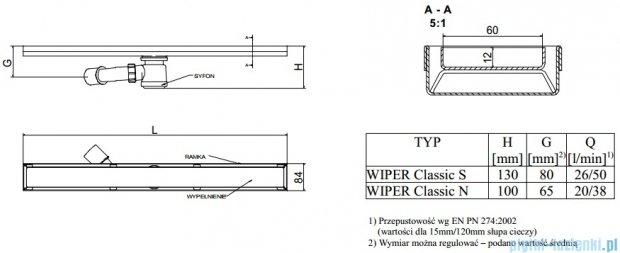 Wiper Odpływ liniowy Classic Sirocco 60cm bez kołnierza mat S600MCS100