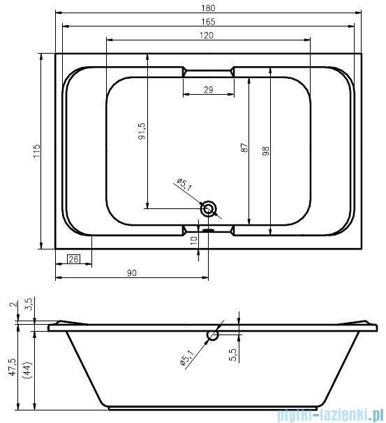 Riho Sobek Wanna prostokątna 180x115 z hydromasażem PRO Hydro 6+6/Aero19 BB28P7