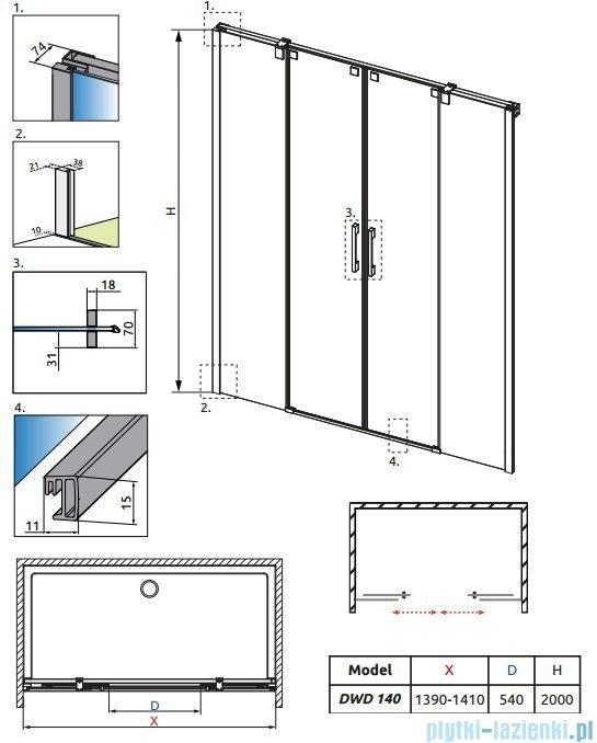 Radaway Espera DWD Drzwi wnękowe przesuwne 140 szkło przejrzyste 380124-01
