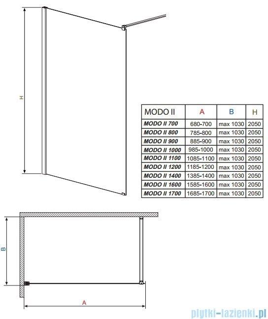 Radaway Modo II kabina Walk-in 160x205 przejrzyste 352164-01-01N