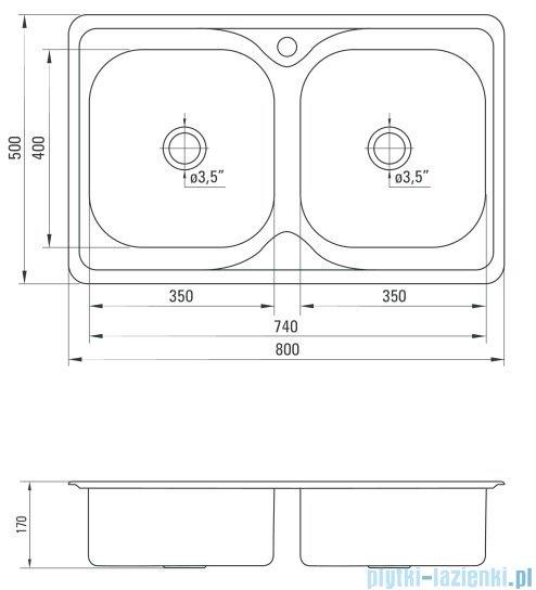 Deante Maredo zlewozmywak 2-komorowy bez ociekacza 80x50 cm dekor ZYU 3203