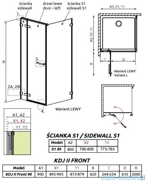Radaway Arta Kdj II kabina 90x80cm lewa szkło przejrzyste 386455-03-01L/386040-03-01L/386020-03-01