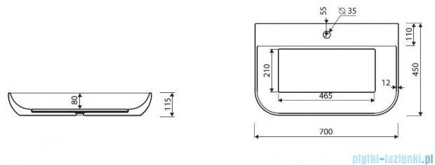 Marmorin umywalka Dione bez otworu 70 cm biała  505070020010