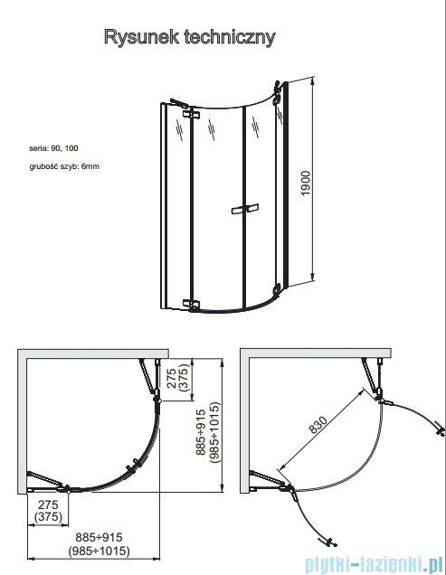 Aquaform Verra Line kabina półokrągła 90x90cm przejrzyste 100-09330