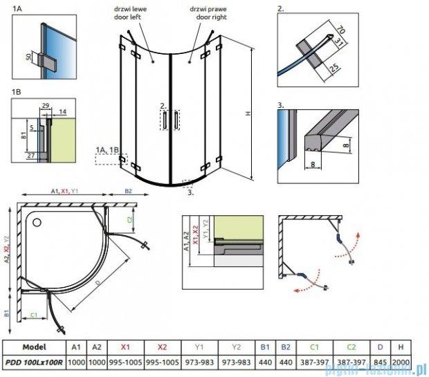 Radaway Euphoria PDD Kabina prysznicowa 100x100 szkło przejrzyste + brodzik Patmos A + syfon 383003-01L/383003-01R/4S11155-03