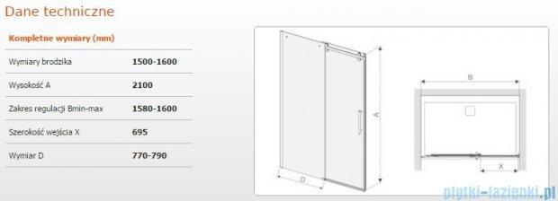 Sanplast drzwi przesuwne D2/ALTIIa-150-160 150-160x210 cm przejrzyste 600-121-1551-42-401