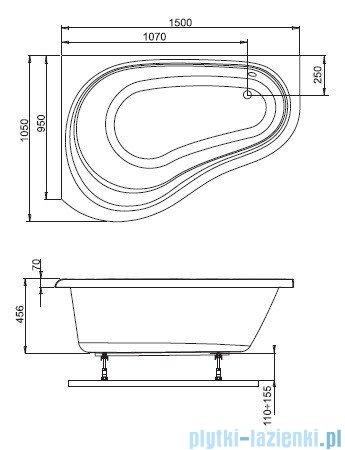 Aquaform Solo wanna asymetryczna 150x105cm lewa 241-05410P