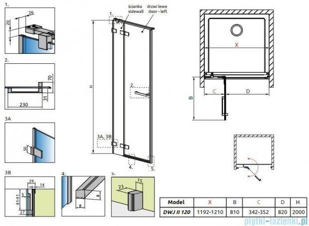 Radaway Arta Dwj II drzwi wnękowe 120cm lewe szkło przejrzyste 386444-03-01L/386012-03-01L