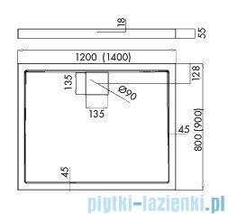 Schedpol Omega brodzik prostokątny z klapką odpływu 120x80x5,5cm 3.0453