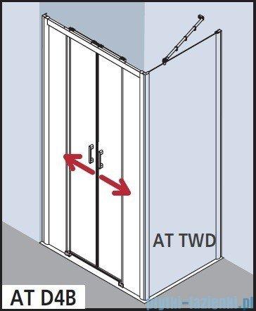 Kermi Atea Drzwi przesuwne bez progu, 4-częściowe, szkło przezroczyste z KermiClean, profile białe 130x185 ATD4B130182PK