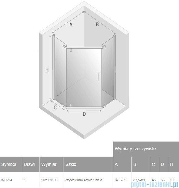 New Trendy New Komfort kabina pięciokątne 90x90x195 cm przejrzyste K-0294