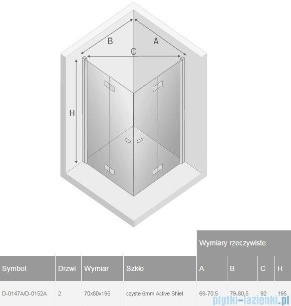 New Trendy New Soleo 70x80x195 cm kabina prostokątna przejrzyste D-0147A/D-0152A