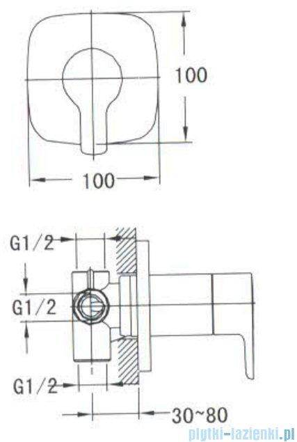 Omnires Hudson zawór podtynkowy 3-wyjściowy chrom HS4163