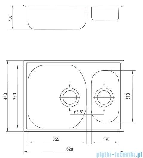 Deante  Xylo Zlewozmywak 1,5-komorowy bez ociekacza 62x44 cm dekor ZEX 3503