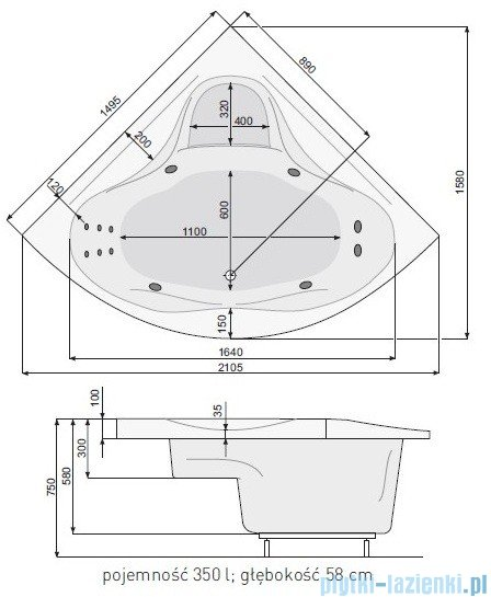 Poolspa Wanna symetryczna FRANCJA XL 150x150 + hydromasaż Smart 1 PHSH710ST1C0000