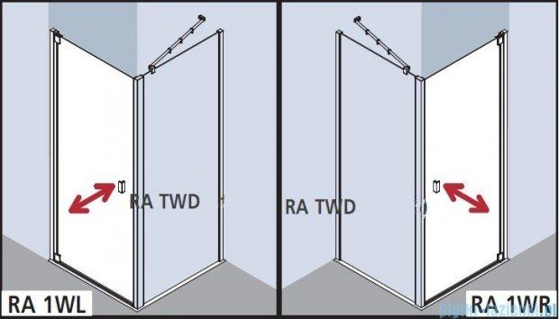 Kermi Raya Drzwi wahadłowe, 1-skrzydłowe, prawe, szkło przezroczyste, profile srebrne 75x200 RA1WR07520VAK