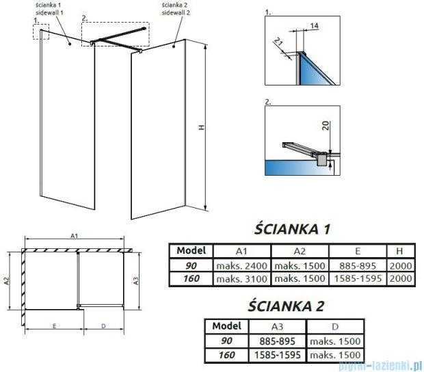 Radaway Modo New III kabina Walk-in 160x90x200 szkło przejrzyste 389164-01-01/389094-01-01/389000-01