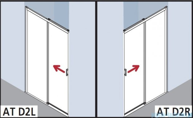 Kermi Atea Drzwi przesuwne bez progu, prawe, szkło przezroczyste KermiClean, profile srebrne 140x185 ATD2R14018VPK