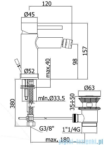 Paffoni  Bateria bidetowa Stick chrom SK135HCR