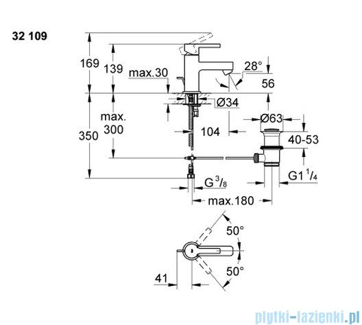 Grohe Lineare bateria umywalkowa DN 15 niska 32109000