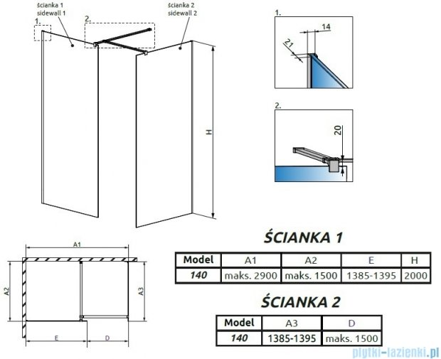 Radaway Modo New III kabina Walk-in 140x140x200 szkło przejrzyste 389144-01-01/389144-01-01/389000-01