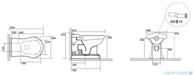 Kerasan Retro miska stojąca przylegająca odpływ poziomy 1016