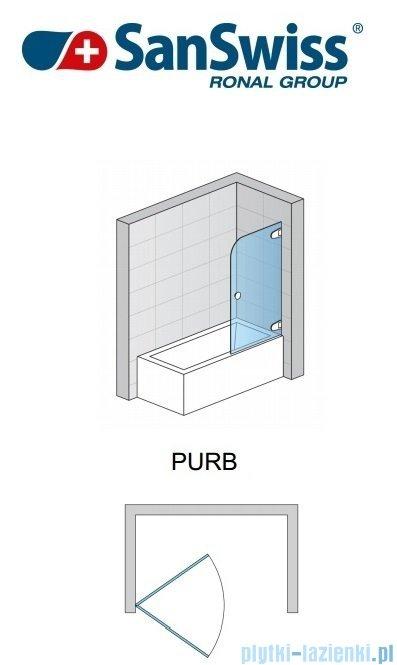 SanSwiss Pur PURB Parawan nawannowy 1-częściowy 85cm profil chrom szkło Master Carre Prawy PURBD08501030