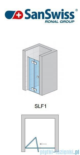 SanSwiss Swing Line F SLF1 Drzwi 2-częściowe 80cm profil srebrny Lewe SLF1G08000107
