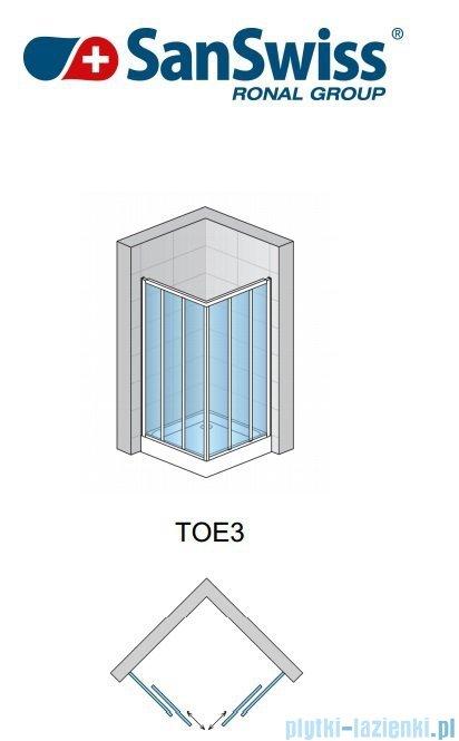 SanSwiss Top-Line TOE3 Wejście narożne 3-częściowe 80cm profil połysk Lewe TOE3G08005007