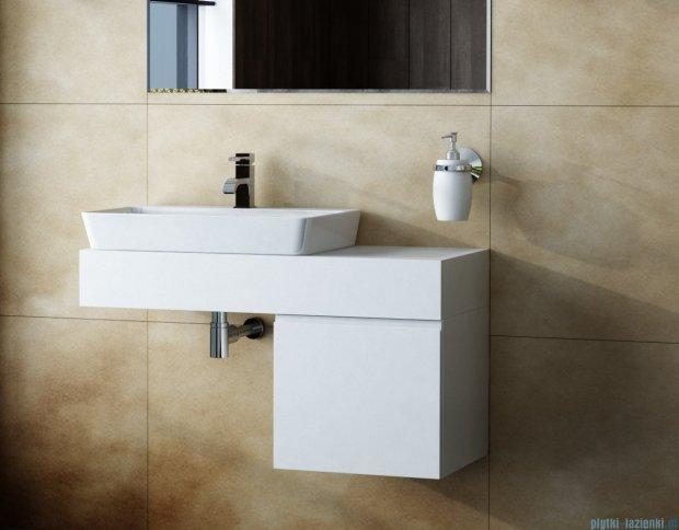Antado Combi szafka z blatem lewym i umywalką Conti biały/jasne drewno ALT-140/45GT-WS/dn+ALT-B/4-1000x450x150-WS+UCT-TP-37x59