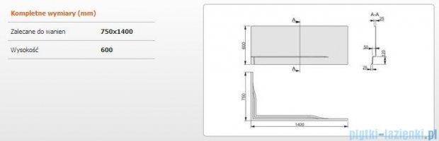 Sanplast Obudowa do wanny Free Line prawa, OWPLP/FREE 75x140 cm 620-040-0240-01-000