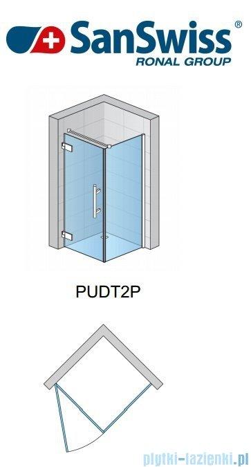SanSwiss Pur PUDT2P Ścianka boczna 120cm profil chrom szkło przejrzyste PUDT2P1201007