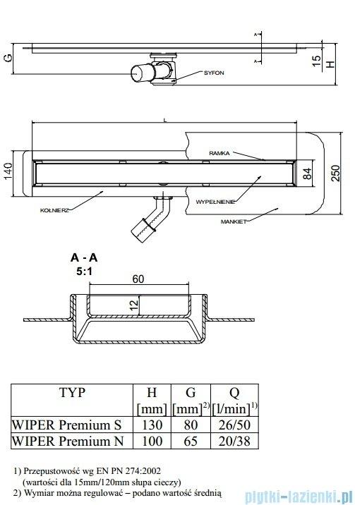 Wiper Odpływ liniowy Premium Mistral 60cm z kołnierzem poler M600PPS100