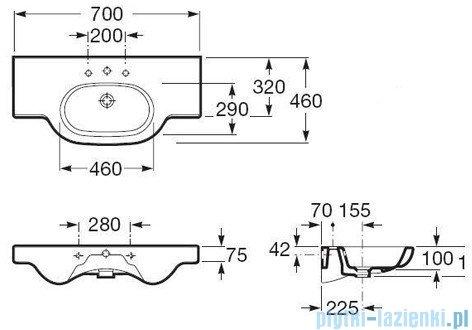 Roca Meridian-N Umywalka 70x46cm ścienna z powłoka Maxi Clean A32724000M