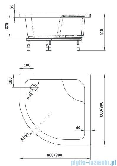 Deante Deep brodzik półokrągły 80x80x41 cm biały KTD 042B