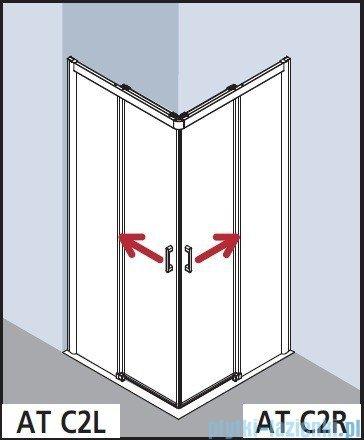 Kermi Atea Wejście narożne lewe, połowa kabiny, szkło przezroczyste KermiClean, profile srebrne 90x185cm ATC2L09018VPK