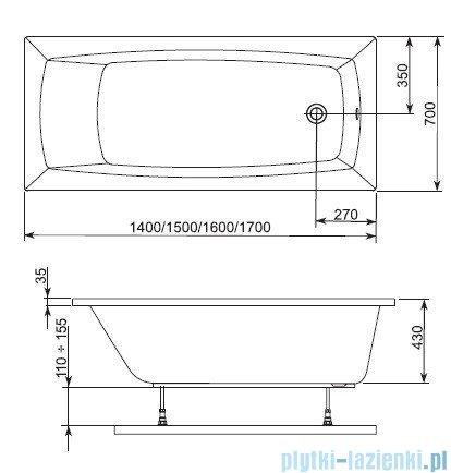 Aquaform Arcline wanna prostokątna 160x70cm 243-05312P