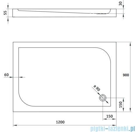 Deante Cubic brodzik prostokątny 90x120 cm biały KTK 043B